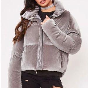 Zara Grey Velvet Puffer Jacket
